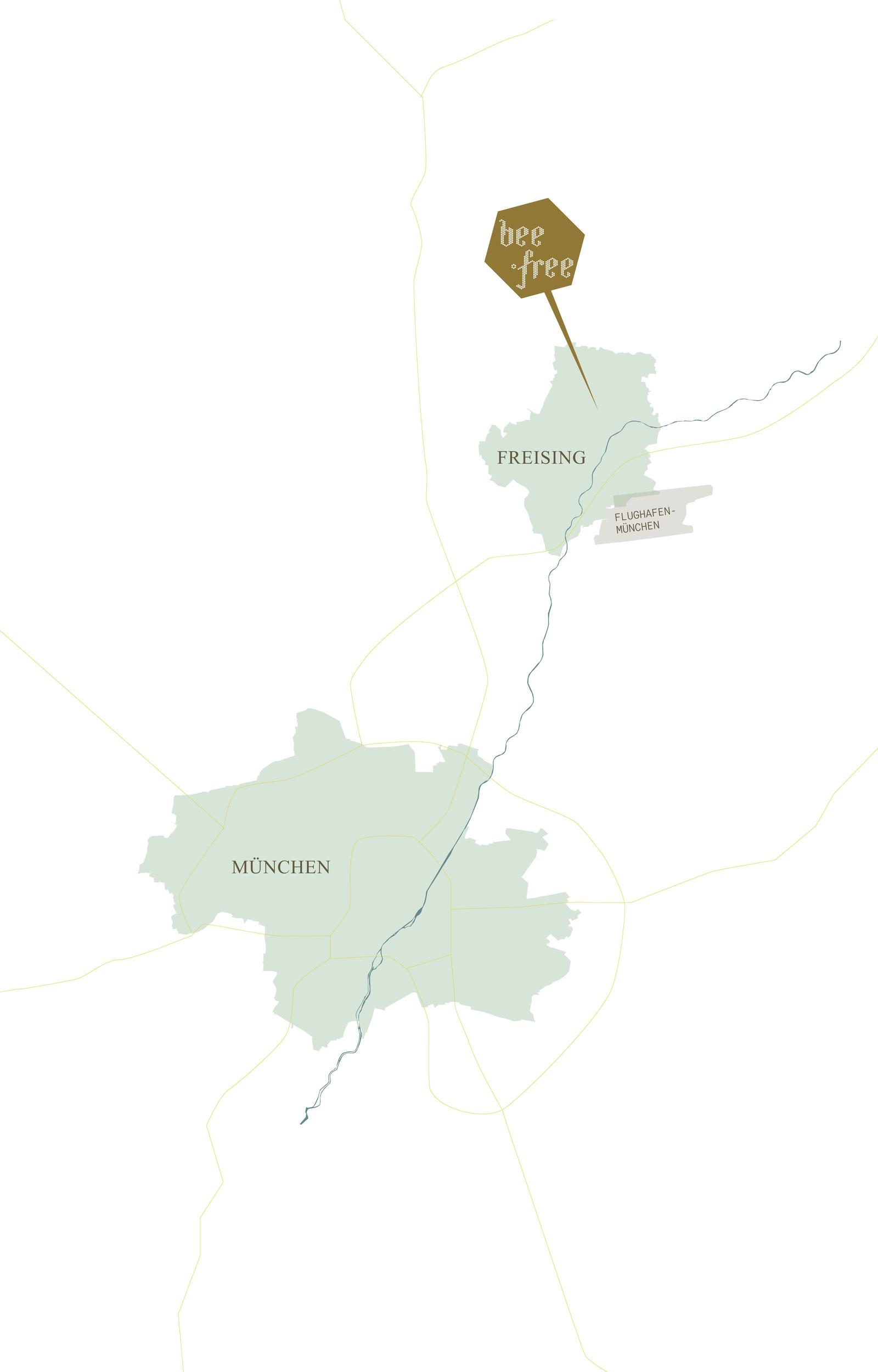 Stilisierte Karte Landkreis Freising