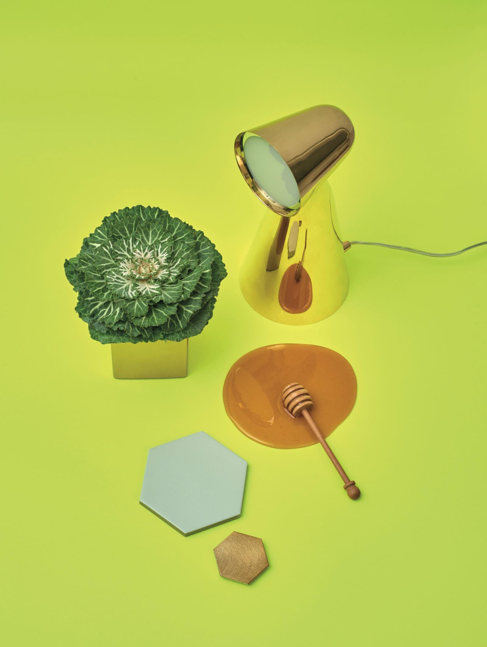 Tischlampe, Kohl, Honig, Fliesen