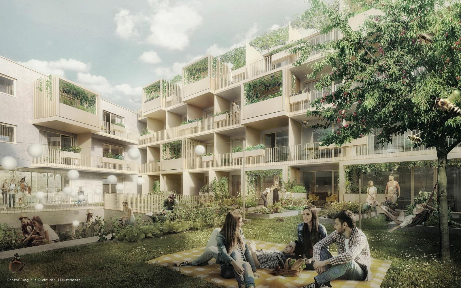 Grüner Innenhof mit Garten